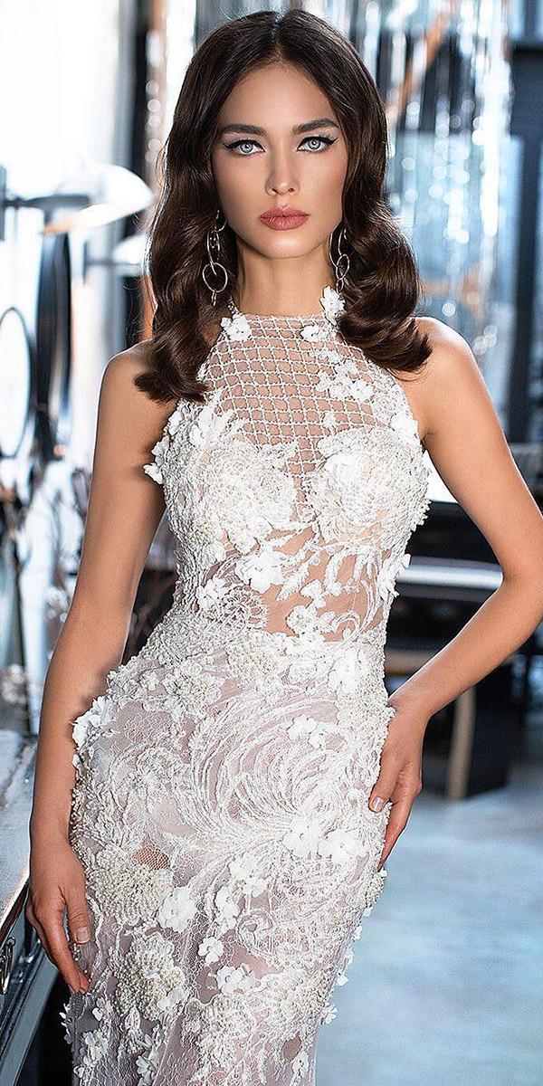 lorenzo rossi wedding dresses jewel neckline mesh floral lace embellishment sleveless 2017