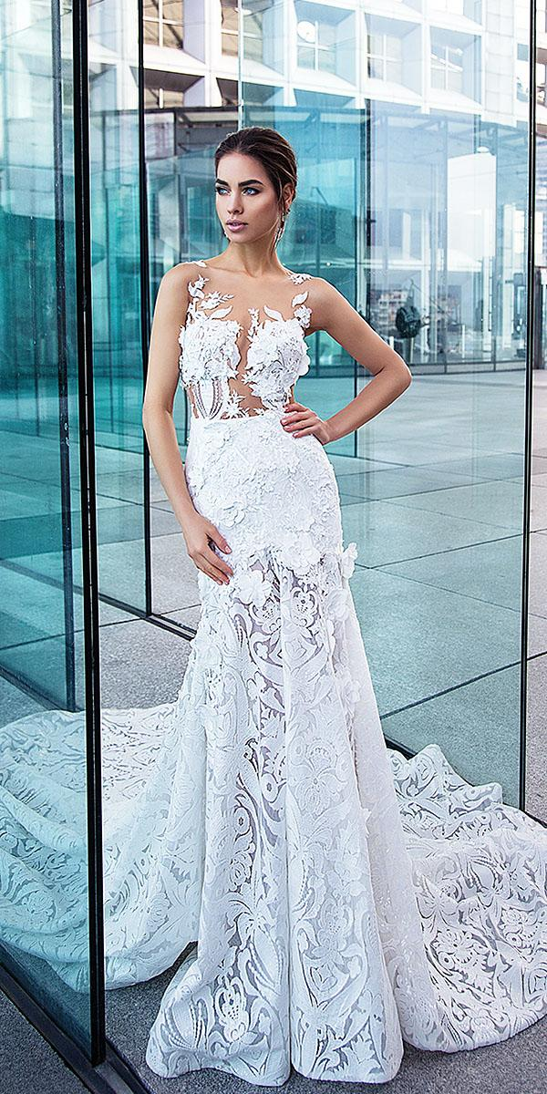 lorenzo rossi wedding dresses mermaid 3d floral with train 2017