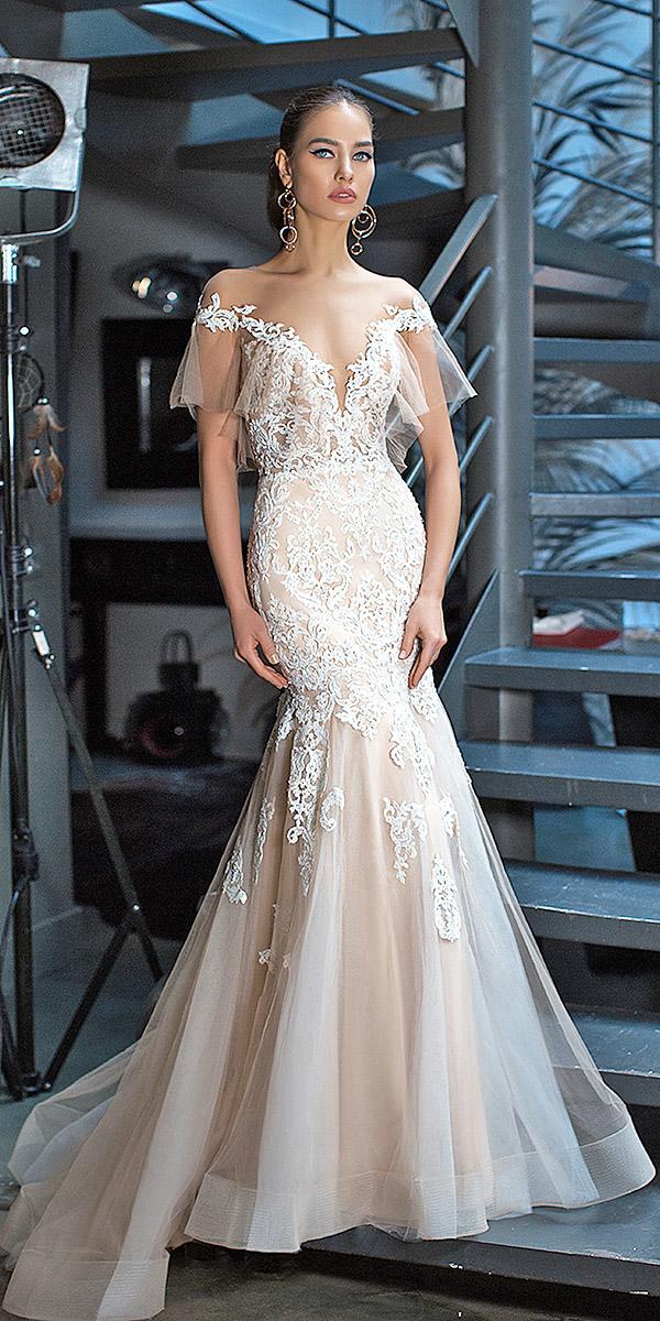 lorenzo rossi wedding dresses mermaid off the shoulder deep v neckline lace blush
