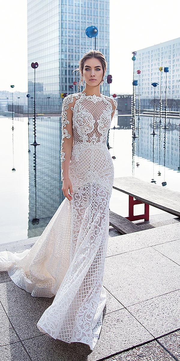 lorenzo rossi wedding dresses mermaid with illusion leaf embroidered full lace with train