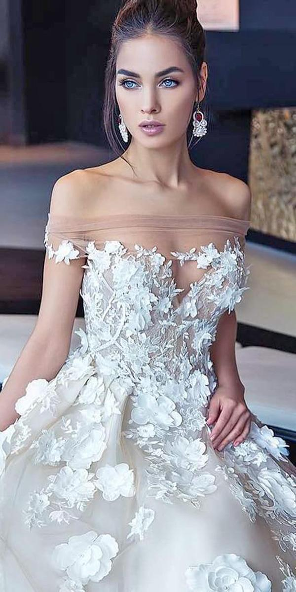 lorenzo rossi wedding dresses off the shoulder sweetheart 3d floral appliques 2017
