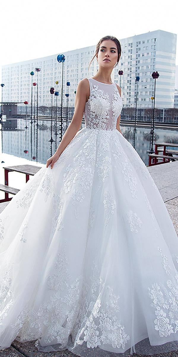lorenzo rossi wedding dresses princess jewel neckline floral lace embellishment