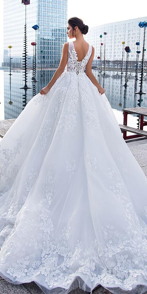 lorenzo rossi wedding dresses princess layered skirt delicate flower v back 2017