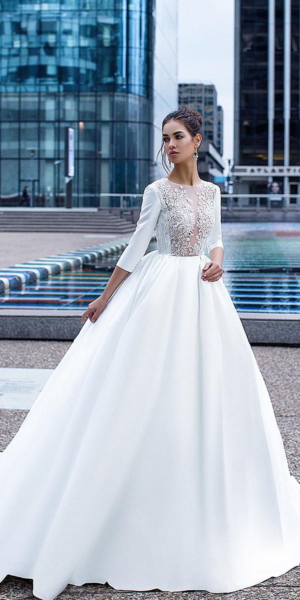 lorenzo rossi wedding dresses princess with three quote sleeves jewel neck mesh leaf floral top