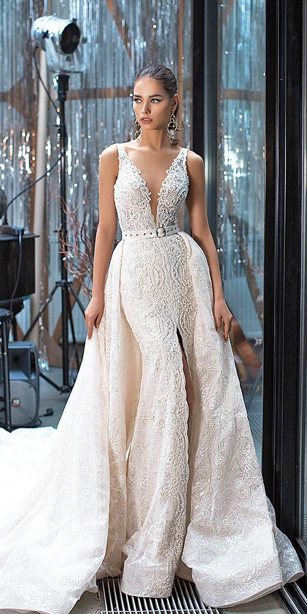 lorenzo rossi wedding dresses sheath deep v neckline lace embellishment oversckirt 2017