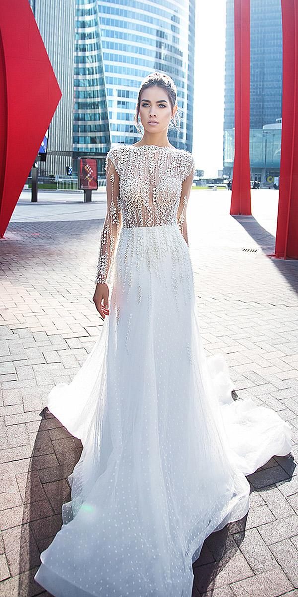 lorenzo rossi wedding dresses sheath with long sleeves jewel neckline beaded with train