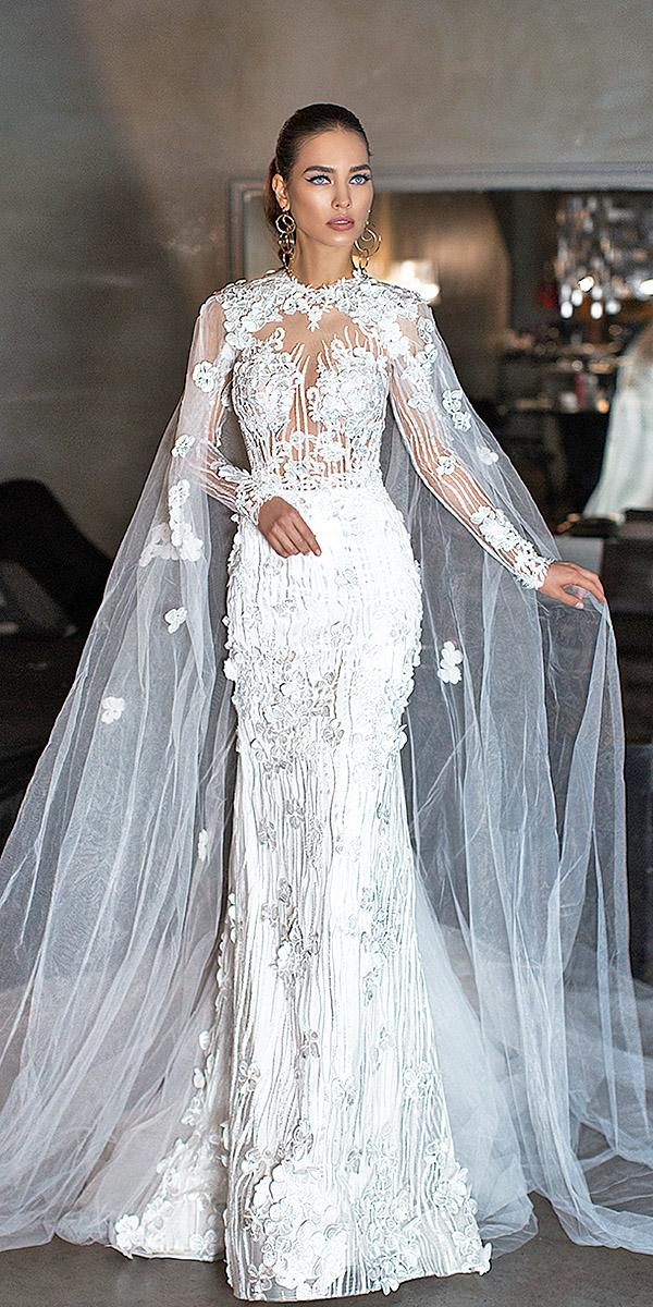 lorenzo rossi wedding dresses with long sleeves full floral with tulle cap hayal skirt