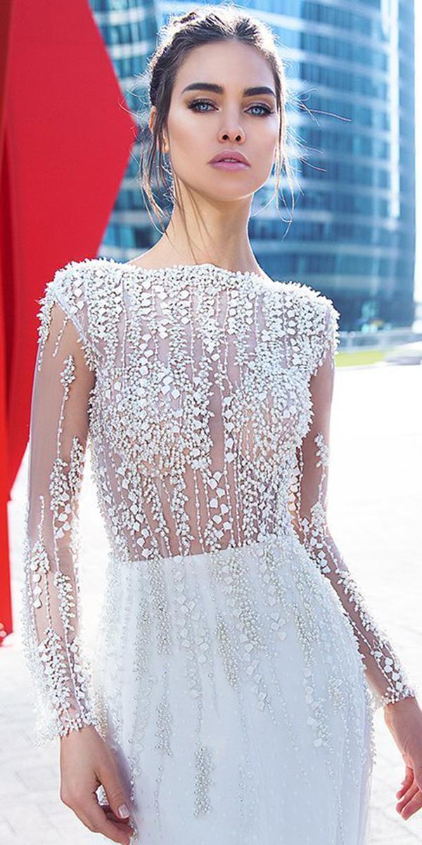 lorenzo rossi wedding dresses with sleeves transparent mesh leaf floral embellishment