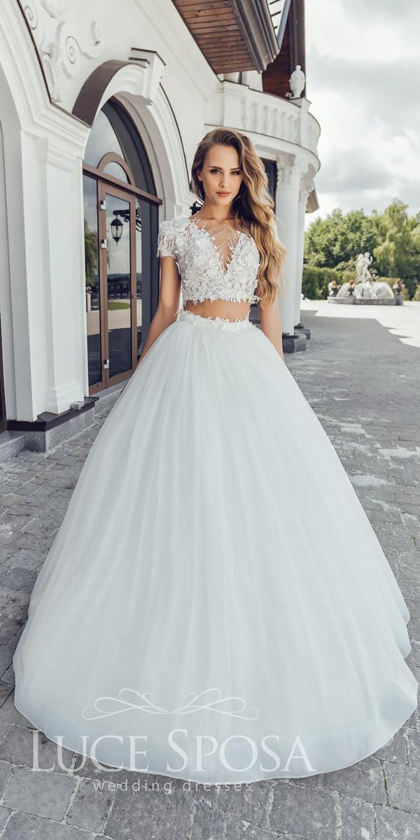 luce sposa wedding dresses 2018 ball gown separates v neckline with short sleeves