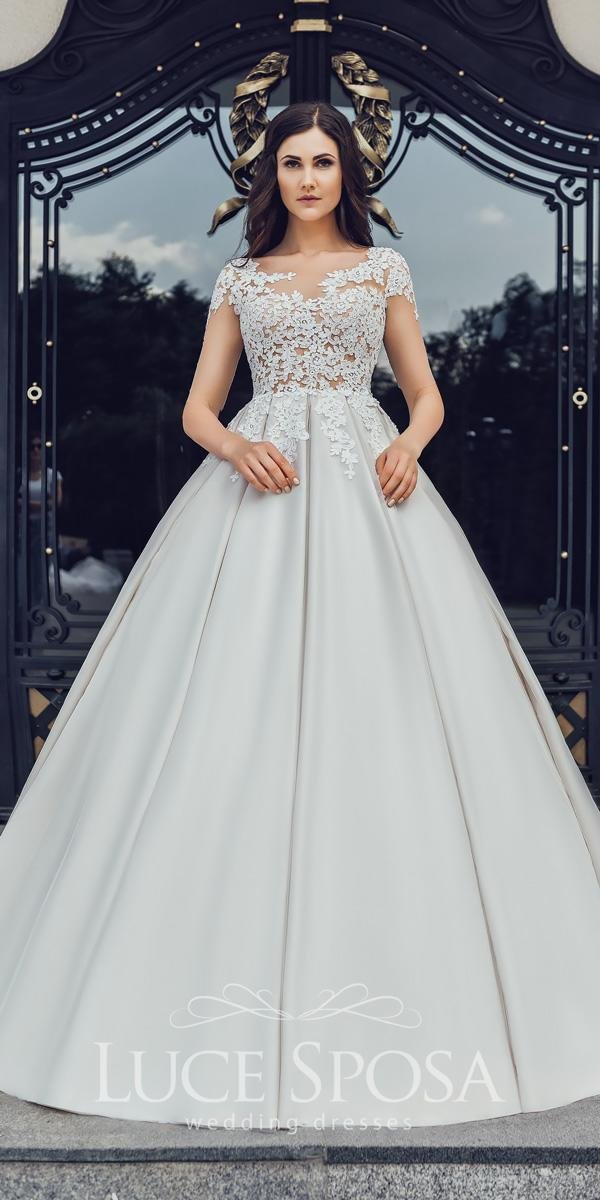 luce sposa wedding dresses 2018 ball gown with illusion neckline short sleeves lace