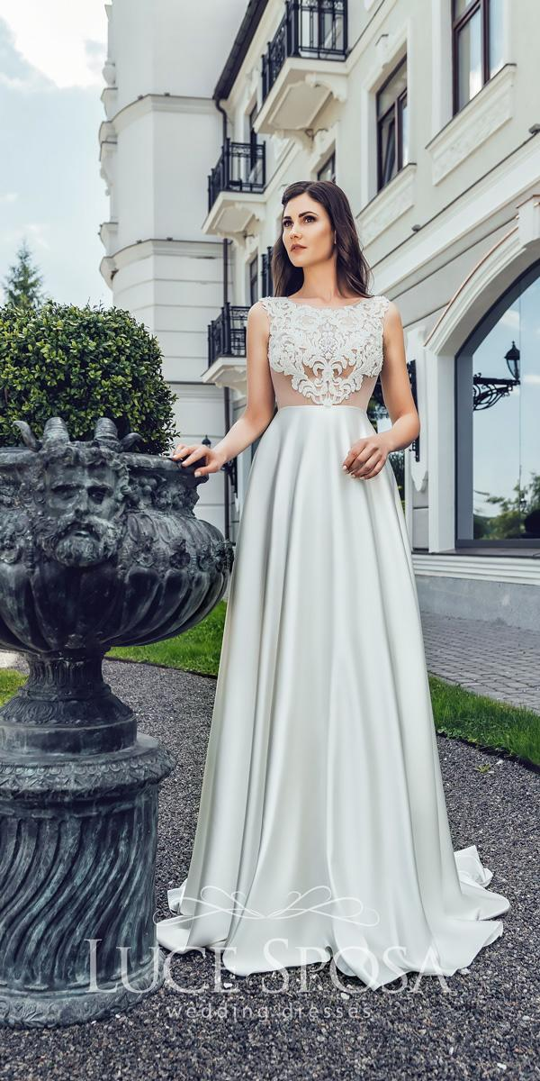 luce sposa wedding dresses 2018 lace straight bateau neckline sleeveless