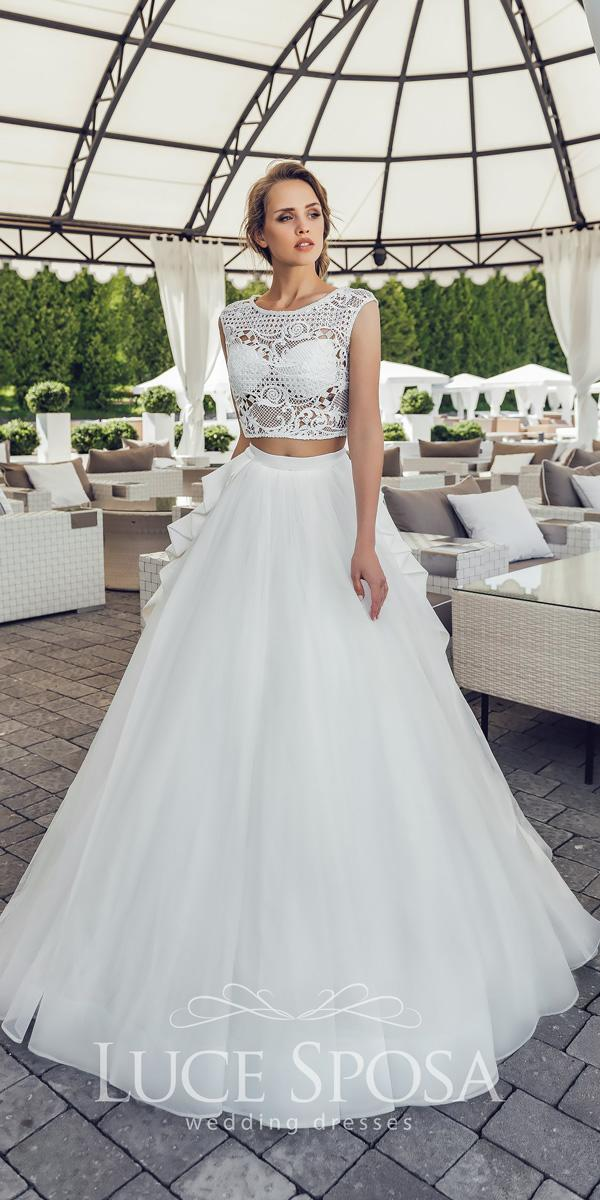 luce sposa wedding dresses 2018 separates lace illusion top bateau neckline