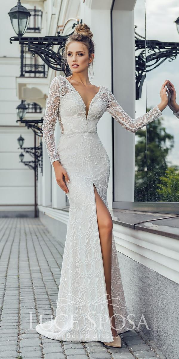 luce sposa wedding dresses 2018 sheath lace v neckline long sleeves with high slit