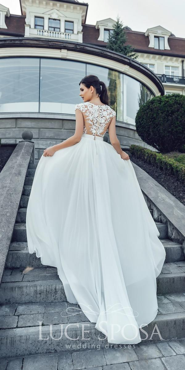 luce sposa wedding dresses 2018 straight lace backless with cap sleeves