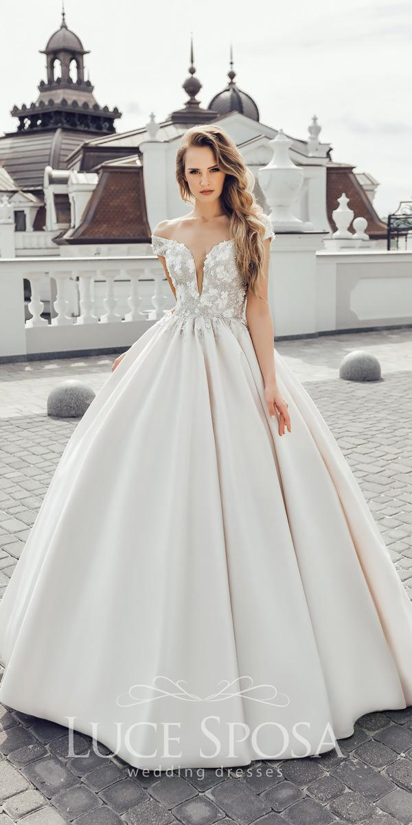 luce sposa wedding dresses 2018 sweetheart off the shoulder with plunging neckline