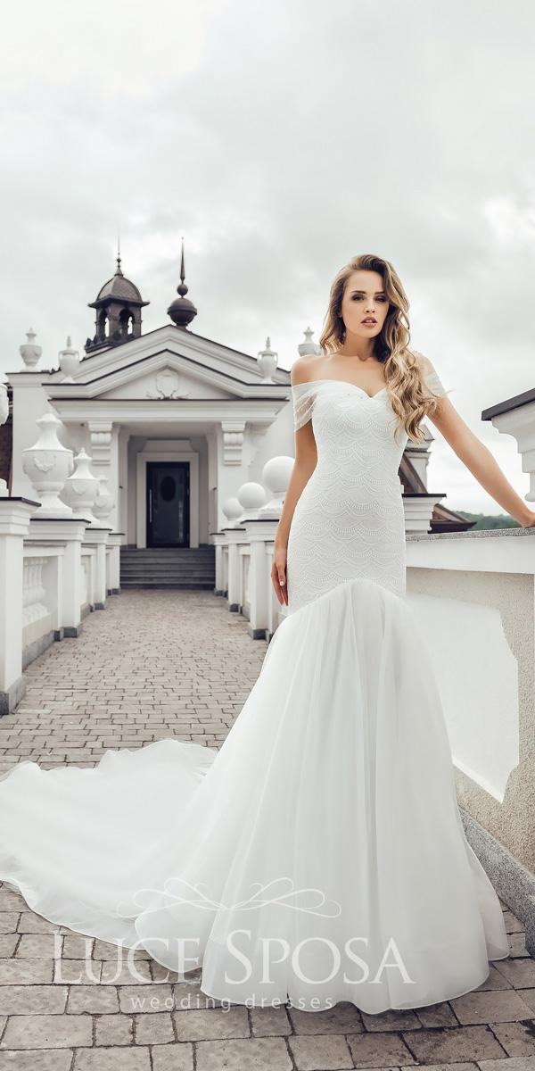 luce sposa wedding dresses 2018 trumpet off the shoulder sweetheart neck with train