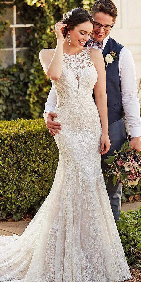 martina liana wedding dresses mermaid jewel neck full lace 2017