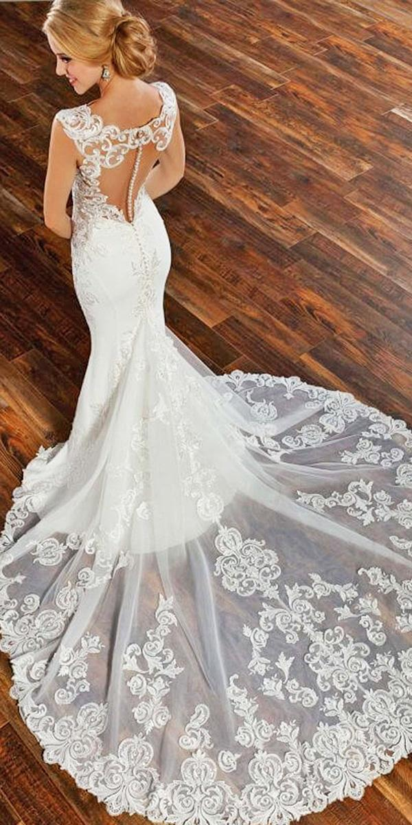 martina liana wedding dresses mermaid lace back cap sleeves with train