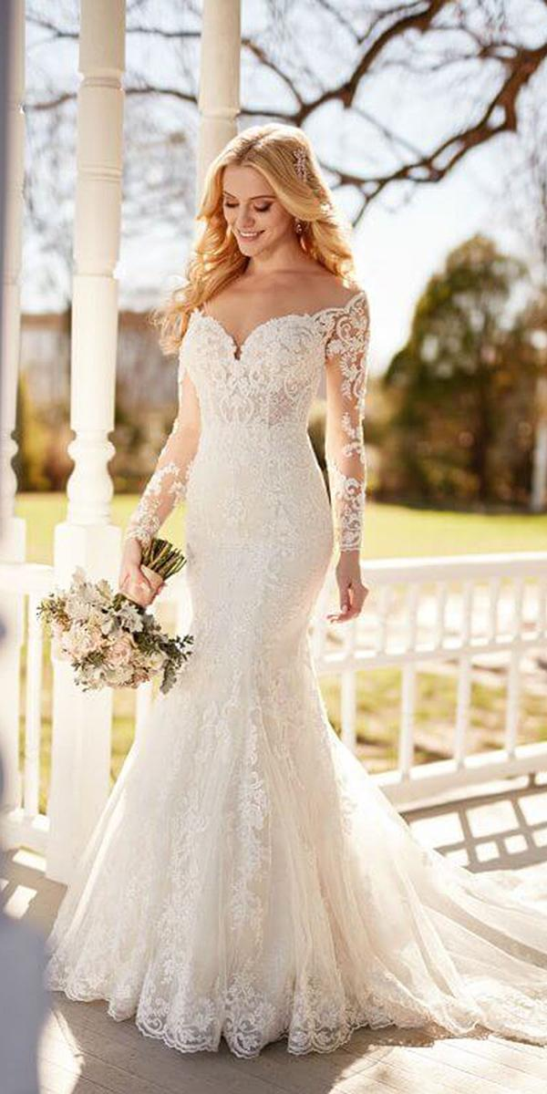 martina liana wedding dresses mermaid sweetheart with illusion sleeves lace