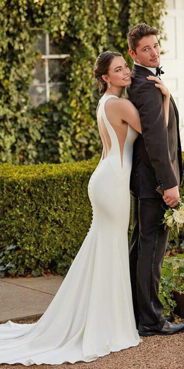 martina liana wedding dresses open back sleeveless with train simple