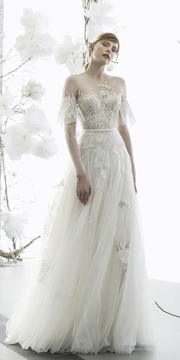 mira zwillinger wedding dresses a line illusion off the shoulder sweetheart floral embroidery