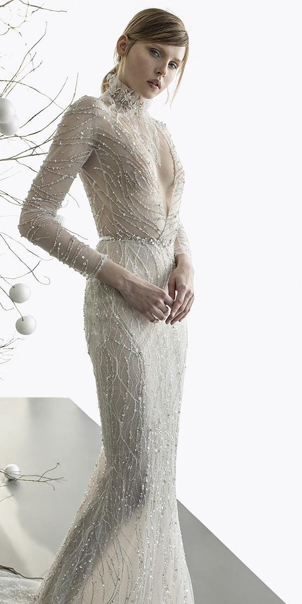 mira zwillinger wedding dresses deep v neckline with long sleeves elegant beaded