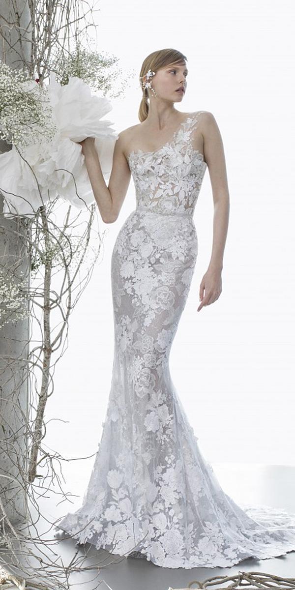 mira zwillinger wedding dresses mermaid asymmetric floral embellishment 2018