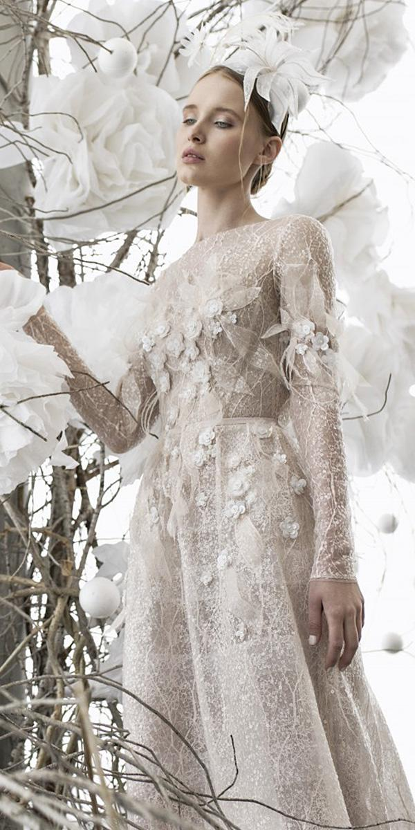mira zwillinger wedding dresses swith long sleeves floral appliques delicate 2018