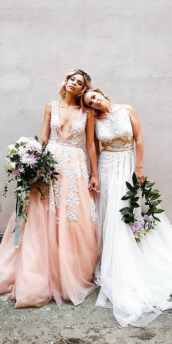 modern wedding dresses a line deep v neckline lace boho sexy alea lovely gowns