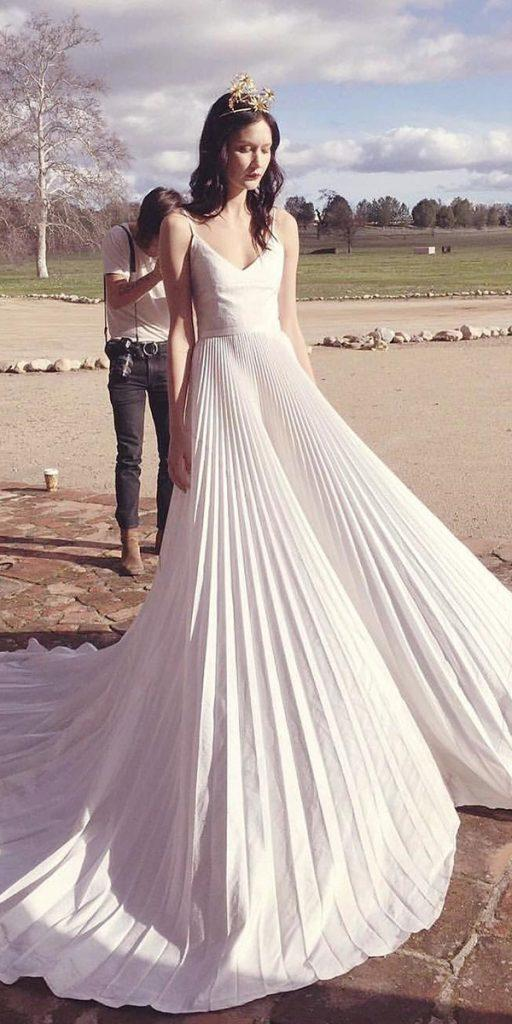 modern wedding dresses a line with spaghetti straps simple odylynethe ceremony