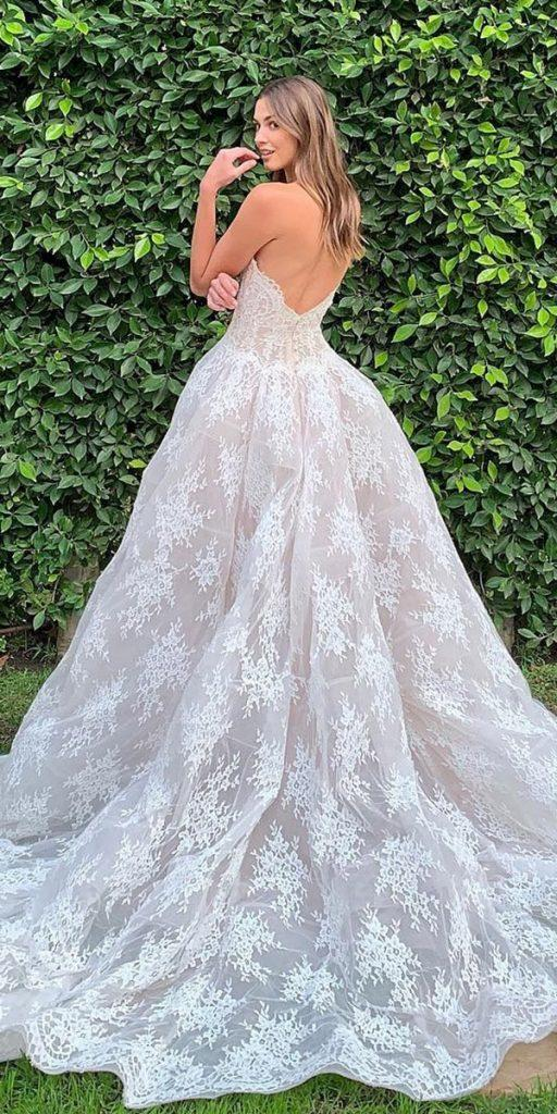 modern wedding dresses ball gown low back with delicate lace moniquelhuillier