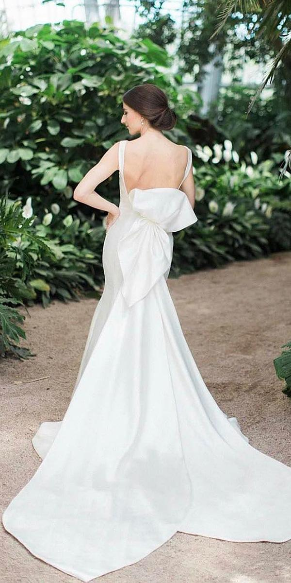 modern wedding dresses bare back with bow simple minimalist sareh nouri