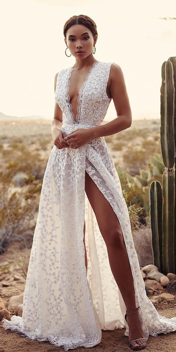 modern wedding dresses deep v neckline with slit lace for beach unique lurelly