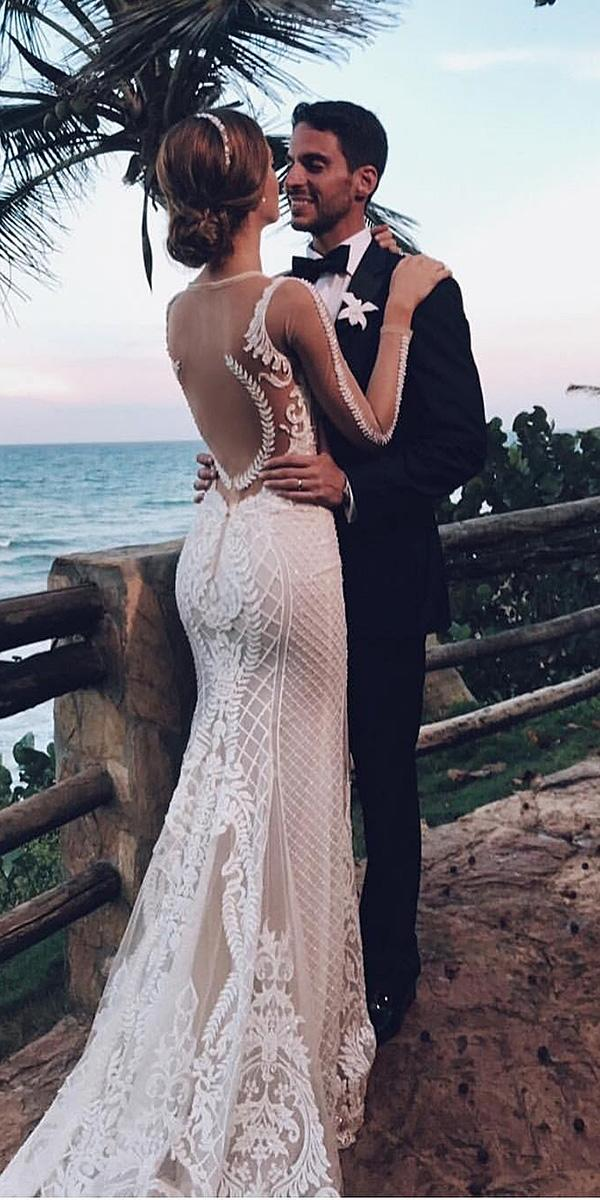 modern wedding dresses illusion tatto back with sleeves unique berta