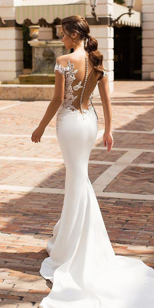 modern wedding dresses mermaid illusion neckline lace with buttons vierobridal