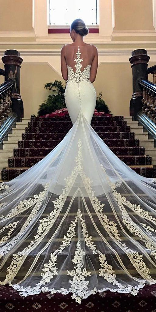 modern wedding dresses mermaid lace illusion back with train enzoani