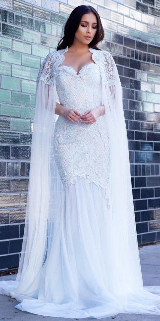 modern wedding dresses mermaid sweetheart lace with cape ryan and walter