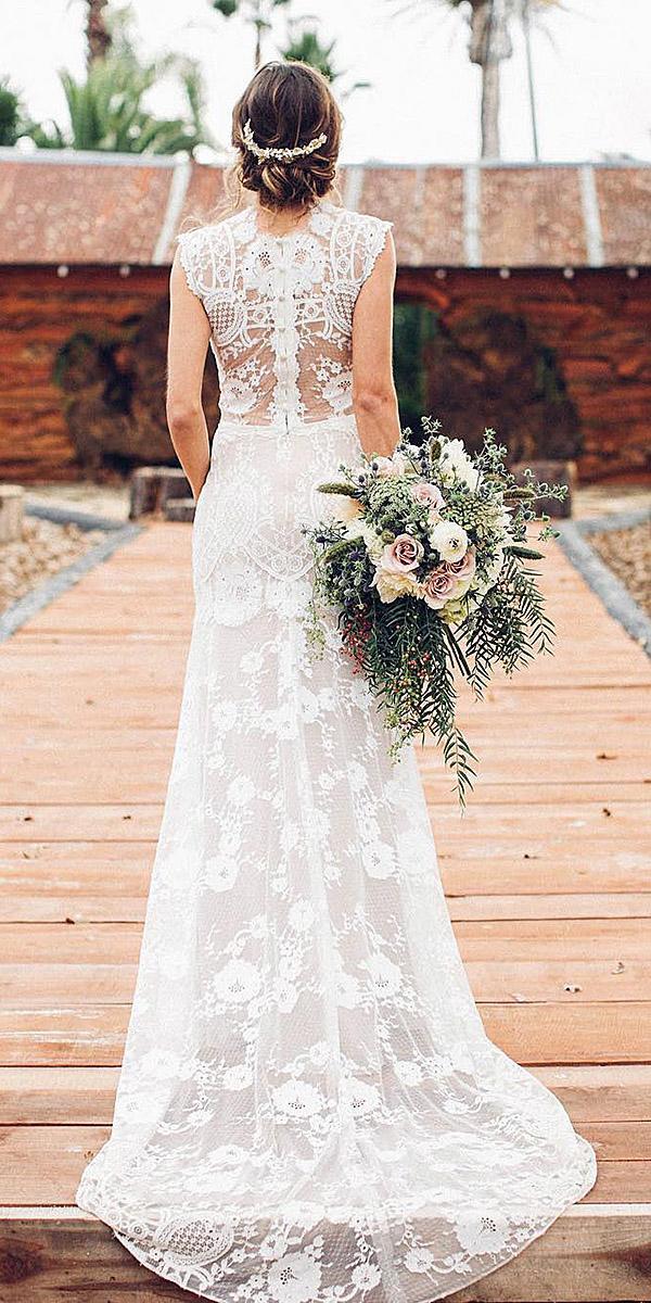 modern wedding dresses sheath full lace sleeveless boho claire pettibone