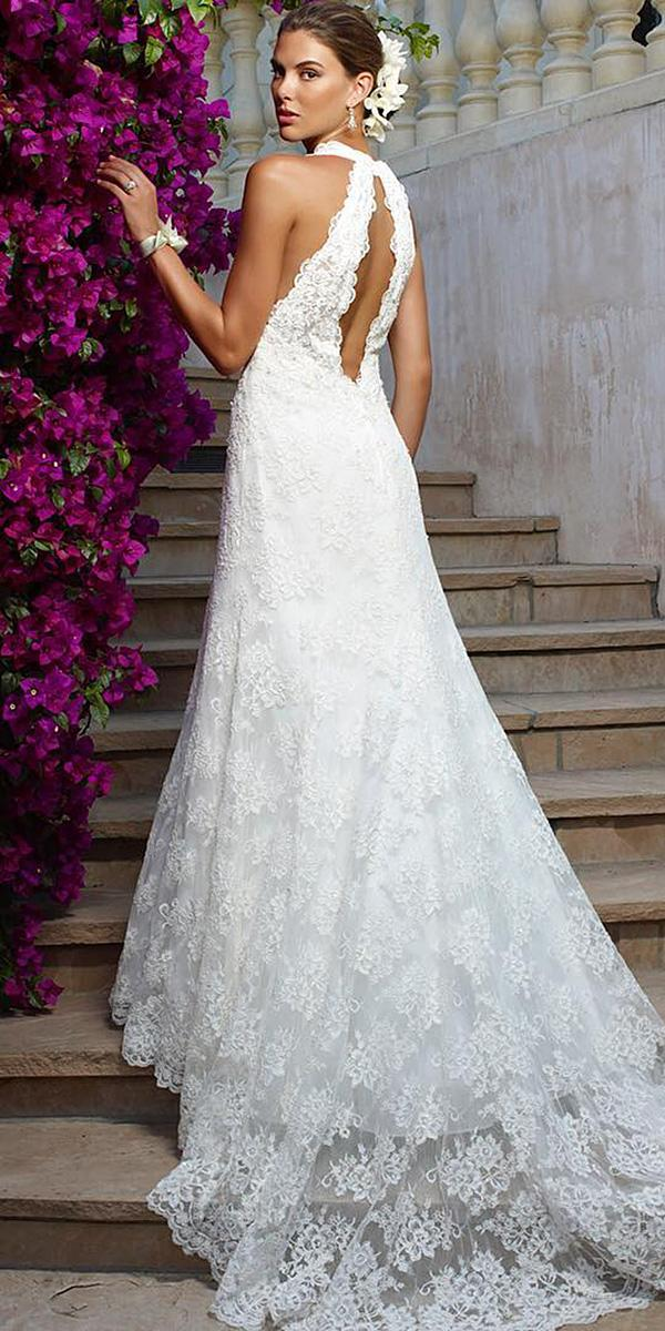 modern wedding dresses sheath open back floral lace embellishment casablanca bridal