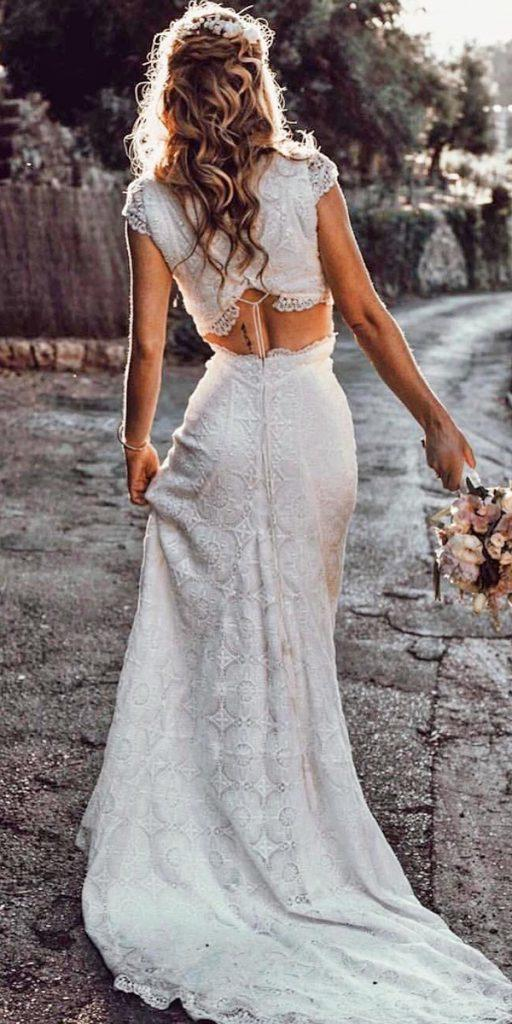 modern wedding dresses sheath with cap sleeeves boho lace tali photography