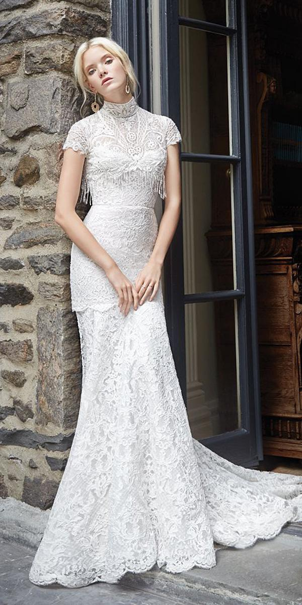 lace vintage wedding dresses with cap sleeves high neck alvina valenta