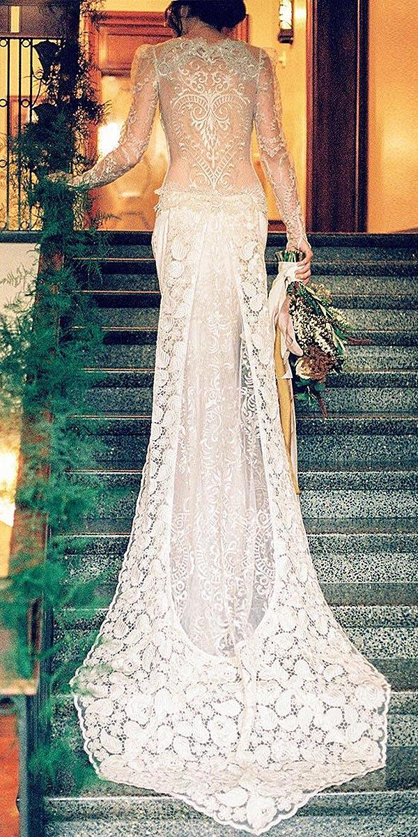 modern wedding dresses sheath with illusion sleeves tatto back lace claire pettibone