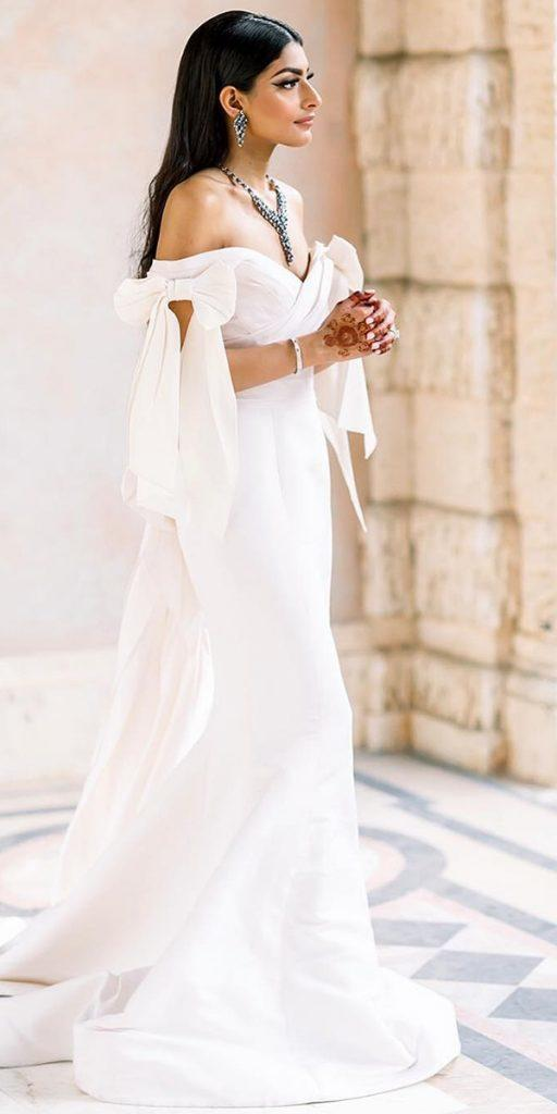 modern wedding dresses simple off the shoulder sweetheart with bow marchesafashion