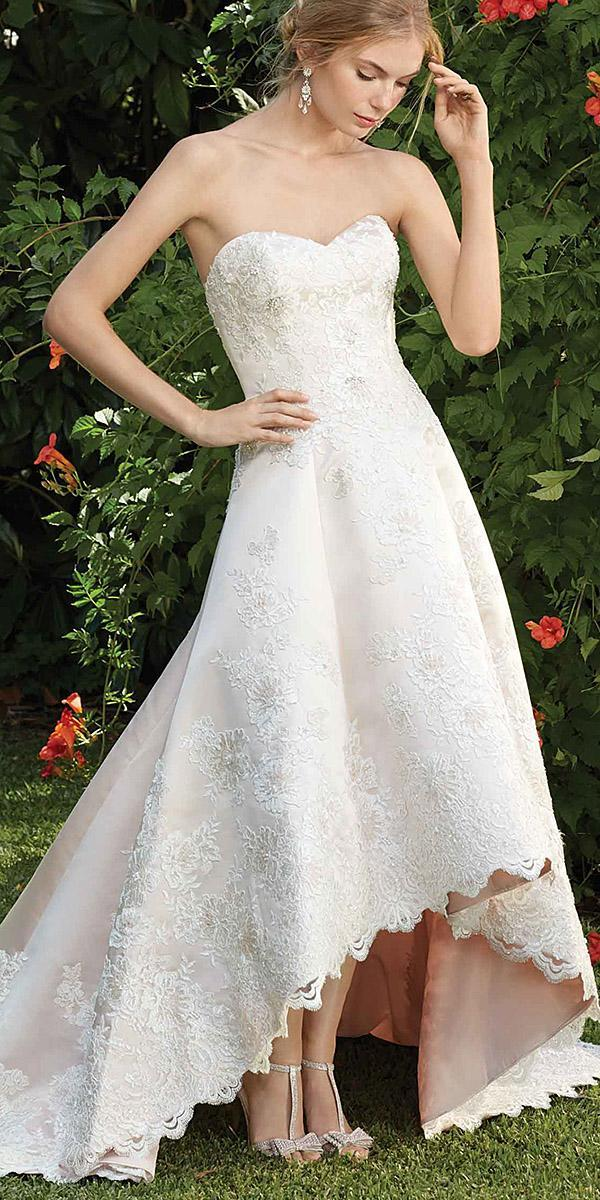 high low sweetheart floral embellishment minimalist wedding dresses casablanca bridal