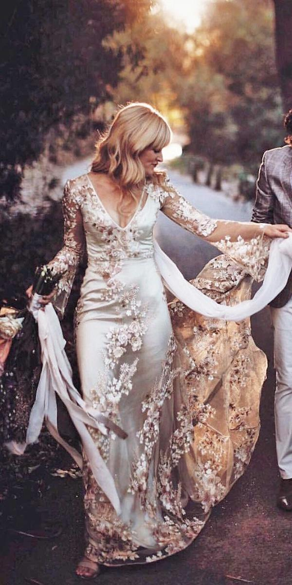 modern wedding dresses with long sleeves floral embellishment unique odylyne the ceremony