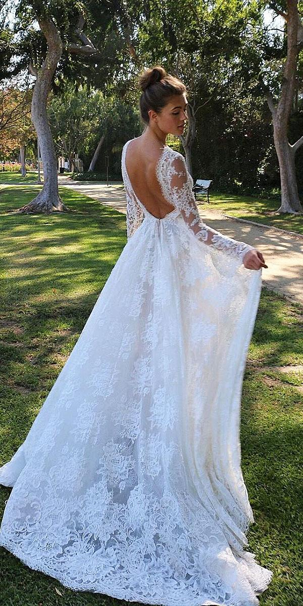 modern wedding dresses with long sleeves low back full lace boho monique lhuillier