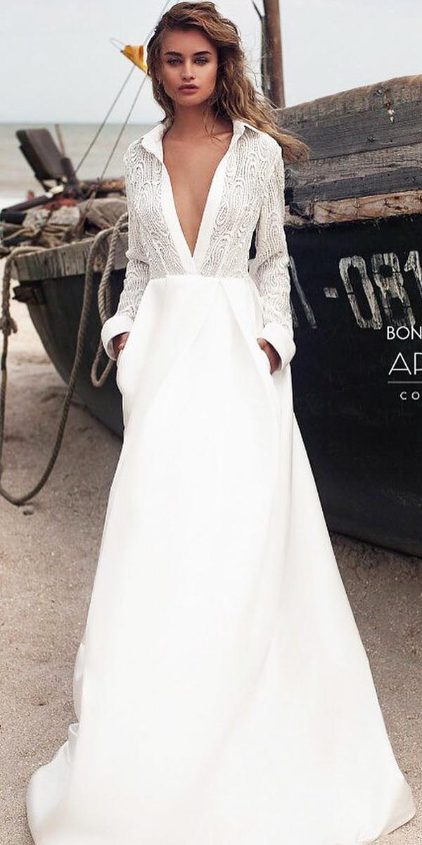 modest wedding dresses with sleeves a line deep v neckline simple ariamo bridal