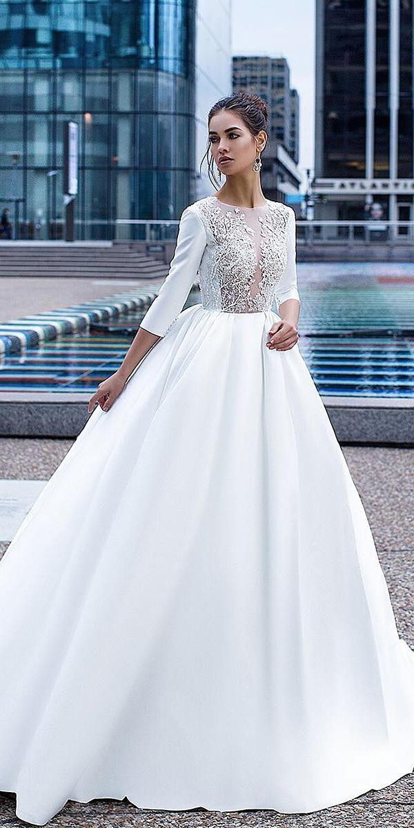 modest wedding dresses with sleeves a line jewel neckline floral embellishment lorenzo rossi