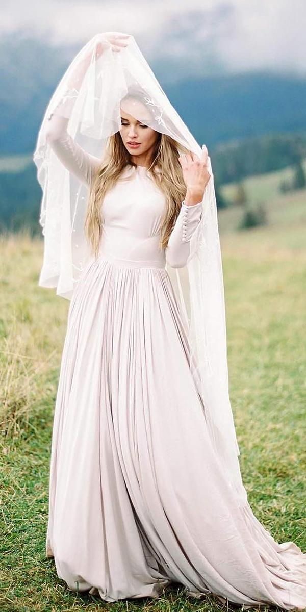 modest wedding dresses with sleeves a line jewel neckline simple cathy telle