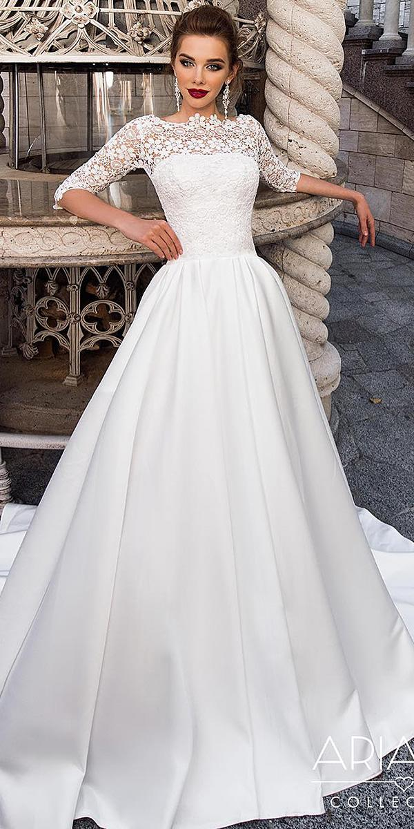 21 modest wedding dresses with sleeves wedding dresses guide modest wedding dresses with sleeves a line lace top satin skirt ariamo bridal junglespirit Gallery